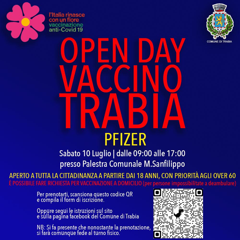 Open Day Vaccinazioni Trabia 10 Luglio 2021